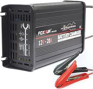 FOXSUR 12V 20A Cargador de batería inteligente de 7 etapas, Gel ácido de plomo Cargador de batería AGM húmedo, Cargador de batería de coche, Cargador de pulso para caja de aluminio (12V 20A)
