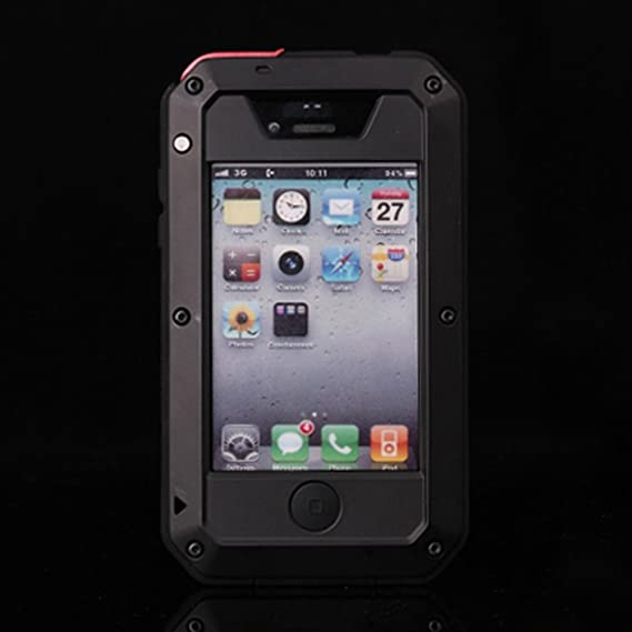 best service ae0d8 560fa iPhone 4s Case, CarterLily Aluminum Shockproof Dustproof Waterproof Gorilla  Glass Metal Case Cover for iPhone 4 / 4S (Black)