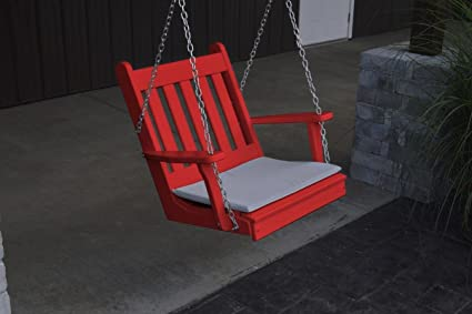 AD PlanetGarden, Outdoor, Indoor Wooden Swing Chair,RED.!! Ships Worldwide !!
