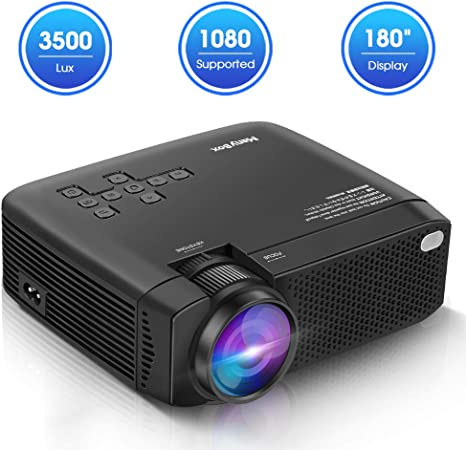 ManyBox Mini Projector, 3500 LUX Portable Video Projector with 45000 Hrs LED Lamp Life, Full HD 1080P Supported, Compatible with TV PS4, HDMI, VGA, ...