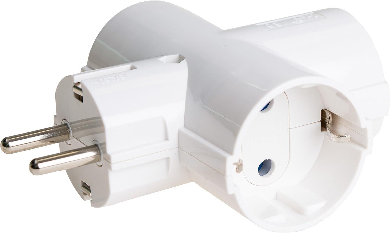 SOLERA 186 Adaptador bipolar de 3 tomas con T/T lateral 16A, 250 V, Blanco
