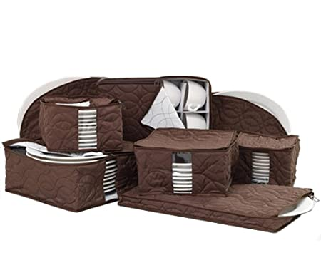 Amazon.com - Richards Homewares Micro Fiber 8 Piece Dinnerware ... : quilted dish storage - Adamdwight.com