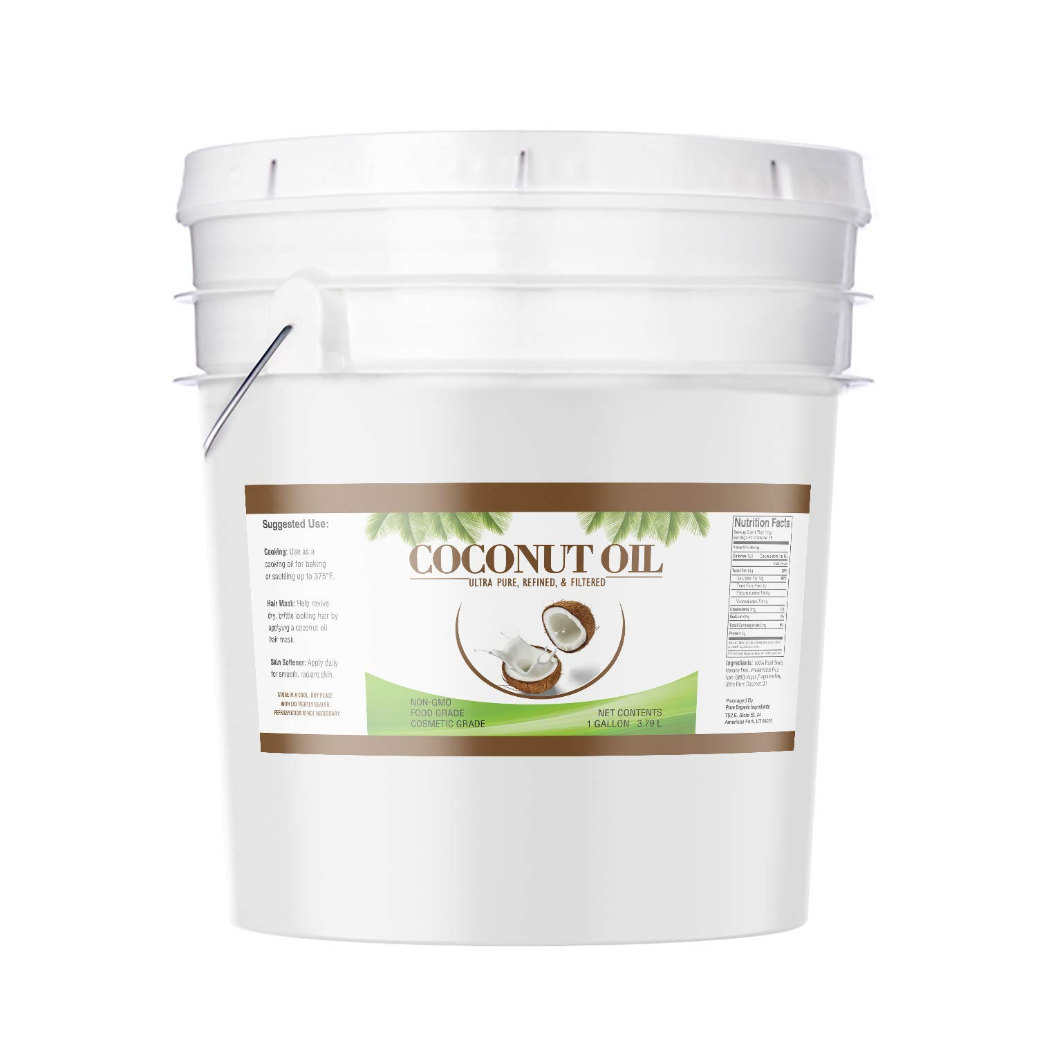 Coconut Oil (1 Gallon) by Pure Organic Ingredients, Ultra Pure, Refined, Filtered, Food Grade, Non-Hydrogenated, No Coconut Flavor or Scent, Non-GMO by Pure Organic Ingredients