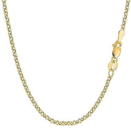 18 Karat / 750 Gold Rund Erbskette Rolo Link Gelbgold Kette Unisex – Breite 2.70 mm – Länge wählbar