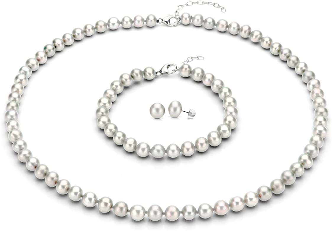 "B00CLW42HW Sterling Silver 8-8.5mm White Freshwater Cultured Pearl Necklace 18""+2"", Bracelet 7"", Stud Earrings 617atlJZb7L.UL1123_"