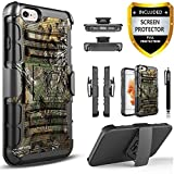 iPhone 5C Holster Case, Circlemalls Dual Layers [Combo Holster] And Built-In Kickstand Bundled With [Premium Screen Protector] Hybird Shockproof And Touch Screen Pen (Black)