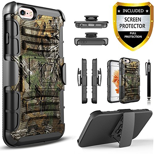 iPhone 5 / 5S / SE Case, Circlemalls [Combo Holster] Built-in Kickstand Bundled with [HD Screen Protector] Hybird Shockproof and Stylus Pen for iPhone 5 / iPhone 5S / iPhone SE (Camo)