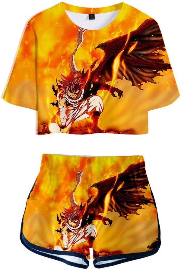 WOONN Shorts und Kurze /Ärmel Fairy Tail Anime Shorts passen zu Sport Freizeit Pyjama
