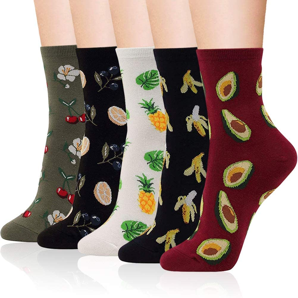 IIG 3-6 Pairs Womens Cute Animal Patterned Funny Novelty Cotton Crew Socks