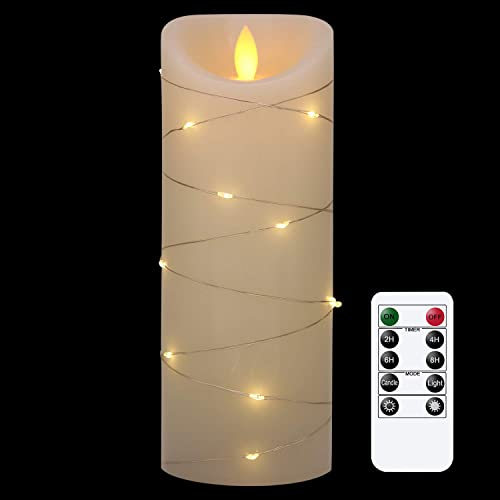 GenSwin Flameless Candles with Remote Timer, LED Moving Wick Flickering Battery Operated Candles with Embedded String Lights, Ivory Real Wax Candles for Christmas Home Decor D3 x H8