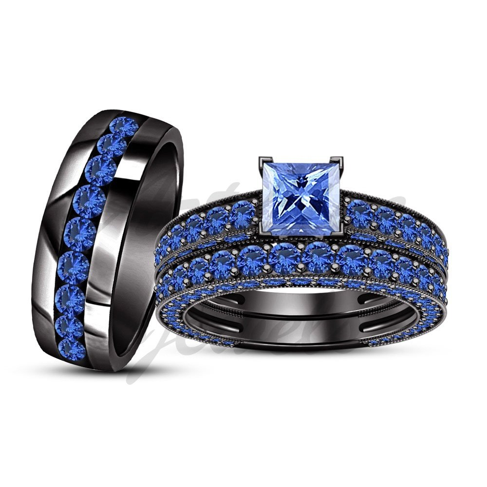ArtLine Jewels 14K Black Gold Plated His Her Blue Sapphire Engagement & Wedding Band Trio Ring Set