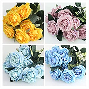 Artificial Silk Fake Flowers Rose Floral Decor Bouquet- 10 Heads Fake Flowers for Decoration in Vase- Silk Flowers in Vase for Home Decor- Dusty Rose Silk Flowers- Bunch Roses 81
