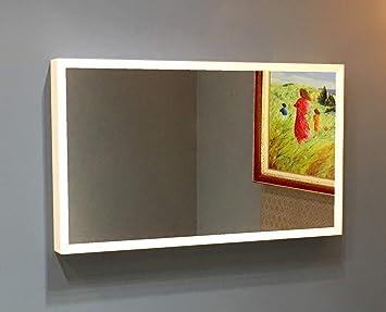 Espejo televisor de calidad profesional de alta gama, 109 cm/43, acabado con marco 100% Corian®, color blanco ...