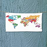 Quick Dry Towel Large World Map Made by Names of The Countries Europe America Africa Asia Graphic Fluffy, and Absorbent, Premium Quality L27.5 x W11.8 inch