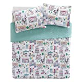 Comfort Spaces Girls/Boys Bedding Twin Size - Paco, Cats, Eiffel Tower 2 Piece Cute Toddler/Kids Mini Quilt Set - Aqua - Hypoallergenic Microfiber - All Season