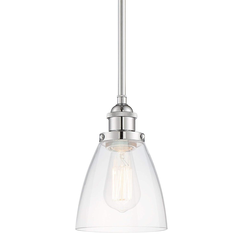 """Kira Home Porter 8"""" Stem-Hung Industrial Pendant Light + Mini Glass Shade, Chrome Finish"""