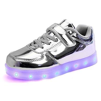 06ce730963ca2 DoGeek Unisex Bambino Scarpe con Luci Scarpe LED Luminosi Sneakers con Luce  nella Suola Bright Tennis Shoes USB 7 Colori Lampeggiante Trainners   Amazon.it  ...