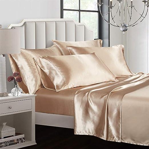 New Queen Silk Feel Satin Pillowcase+Sheets Set Solid Color Deep Pocket