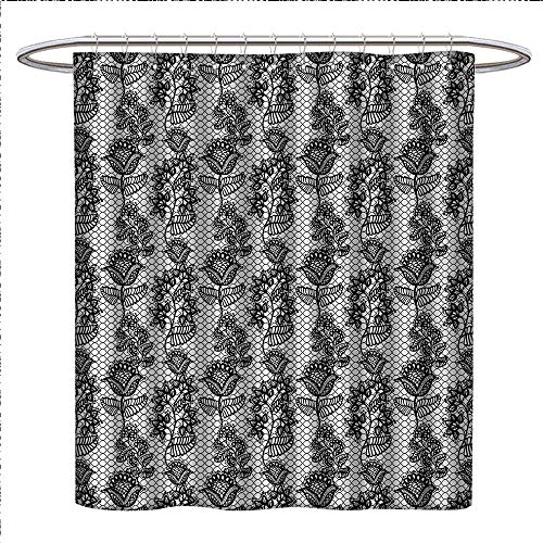 Anniutwo Black and White Shower Curtains Digital Printing Lace Style Victorian Flower Motifs on Wavy Backdrop Western Girls Pattern Bathroom Accessories W69 x L84 Black White