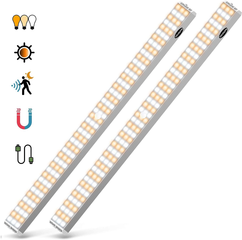3-Color 132 LED Under Cabinet Lighting (2 Pack), USB Rechargeable Closet Light, Wireless Under Cabinet Light, Homelife Motion Sensor Light for Kitchen, Stairs, Hallway, Cupboard, etc