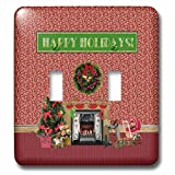3dRose Beverly Turner Christmas Design - Christmas Room, Fireplace, Tree, Toys, Happy Holidays - Light Switch Covers - double toggle switch (lsp_267930_2)