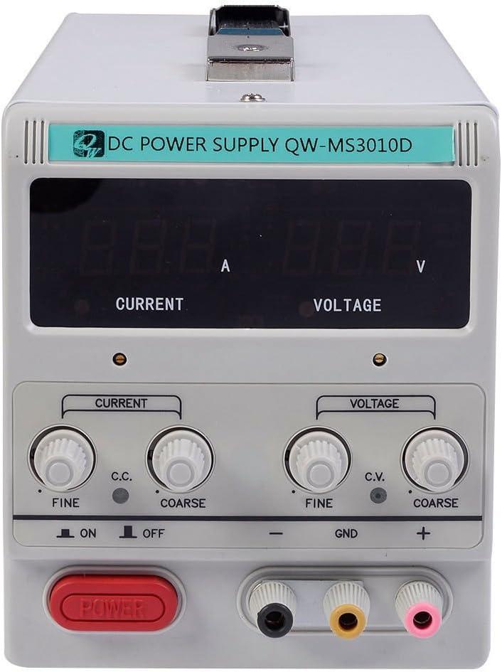 30V 10A 110V Precision Variable DC Power Supply Digital Adjustable w//Clip Cable