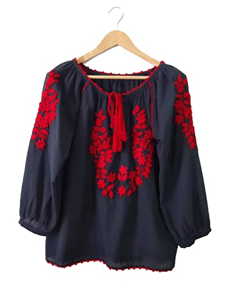 cf7e39e5ce Image Unavailable. Image not available for. Color: Shani Clothes Women's 3/4  Sleeve Boho Shirts Embroidered Peasant top ...