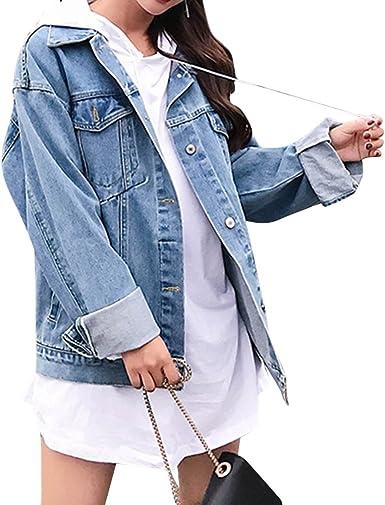 Women Denim Jean Hoodie Coat Jacket Long Tops Cotton Loose Long Oversize Fashion
