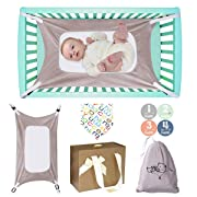Baby Hammock for Crib, Mimics Womb, Double-Layer Breathable Supportive Mesh, Safe Metal Buckle Hammocks Bed with Portable Gift Box for Newborn Baby Shower Gift Bassinet Hammock