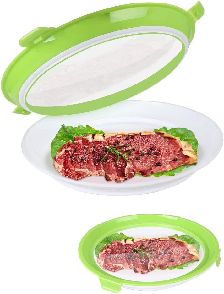 Food Preservation Tray Vacuum Seal, Healthy Fresh Tray Food Storage Container with Elastic Lids, Kitchen Refrigerator Storage Container Set Reusable for Long Food Preservation 2 Set