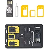 MOERDON SIM Card Adapter with Micro SD storage,Micro SD Card Reader Sim Release Pin Complete Kit for Nano Micro Standard Sim and Card Holder for For iPhone Samsung Nokia HTC LG Sony Gionee All Mobile Phones [SIM Adapter]