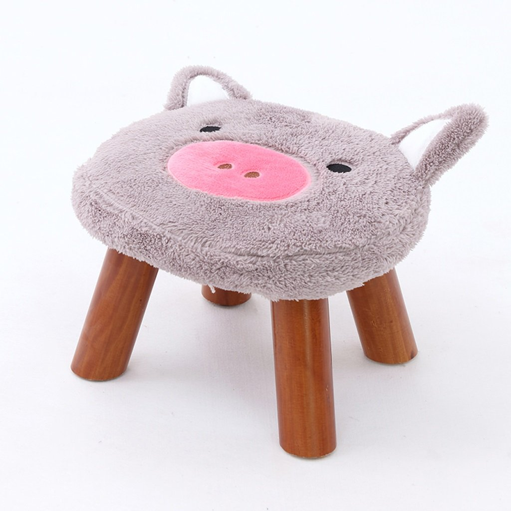 Duzhengzhou Series Upholstered Ride-on Storage Footrest Stool with Vivid Adorable Animal (Color : Gray)