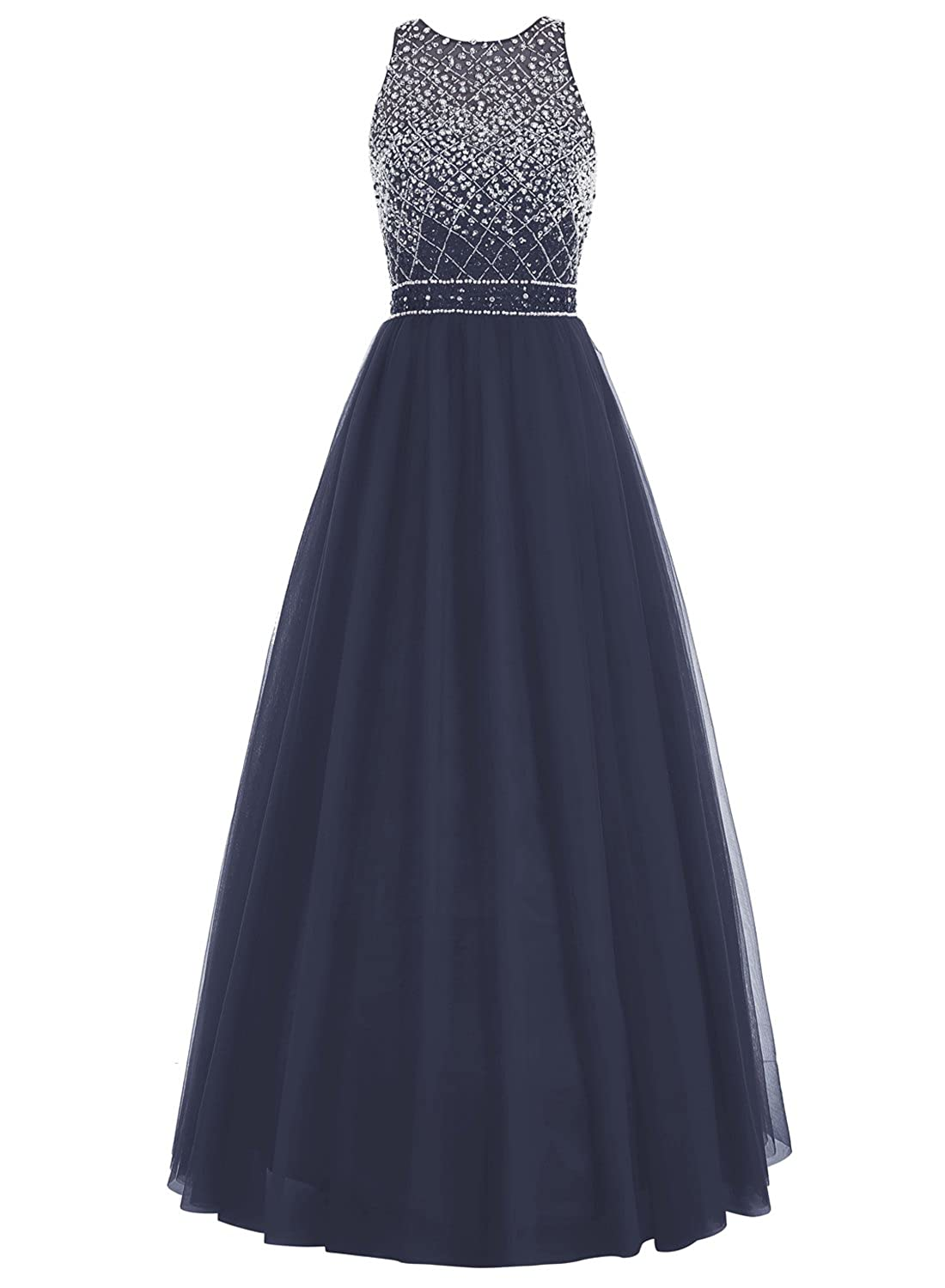 Bbonlinedress Lang Tüll Beaded Kleid Ärmellos Rückenfrei Formell Party Ball Gowns Abendkleid
