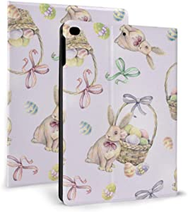 Ipad 9.7 Case 2017 2018, Ipad Air 1 2 Case, Ipad Case with Auto Wake/Sleep Function, Rabbit Easter Basket On Pink Pattern Leather Protect Cover with Adjustable Stand Angle