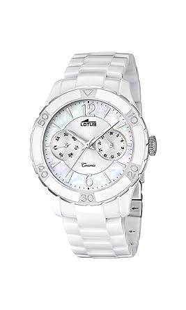 Lotus Reloj de Cuarzo para Mujer con Color Blanco Esfera analógica Pantalla y Pulsera de cerámica Blancos 15930/1: Amazon.es: Relojes