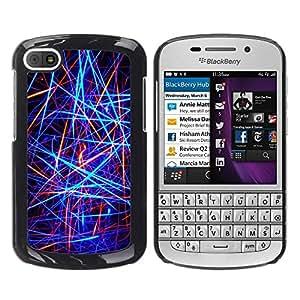 Smartphone Rígido Protección única Imagen Carcasa Funda Tapa Skin Case Para BlackBerry Q10 Abstract Neon Lines / STRONG