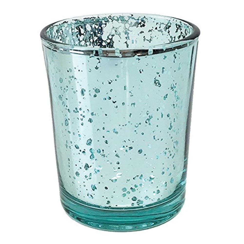 Just Artifacts Mercury Glass Votive Candle Holder 2.75'' H (72pcs, Speckled Aqua) - Mercury Glass Votive Tealight Candle Holders for Weddings, Parties and Home Décor by Just Artifacts (Image #1)