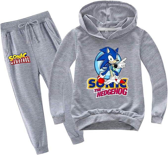 Felpa con Cappuccio e Pantaloni della Tuta da Ginnastica per Bambini Sonic The Hedgehog Completo Sportivo
