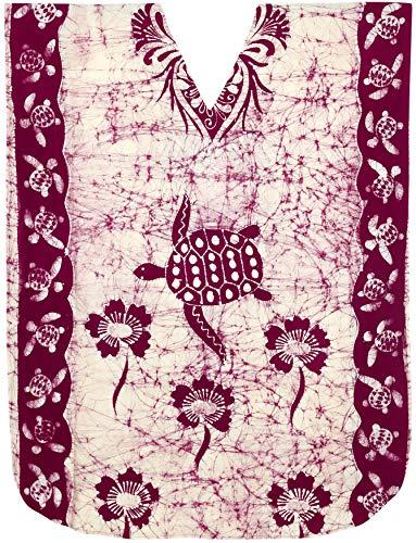 LA LEELA Cotton Batik Long Caftan Dress Women Maroon_2109 OSFM 14-18W [L-2X]