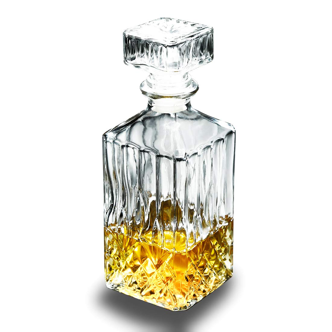 Classic Whiskey Decanter Square Carafe Crystal Glass Red Wine Decanter Bottle 1000ml (11.02x3.54 inch)