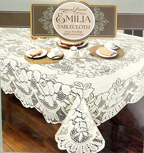 Lace Washable - DINY American White Lace Emilia Tablecloth Machine Washable Ideal For Formal Dinner Parties (60