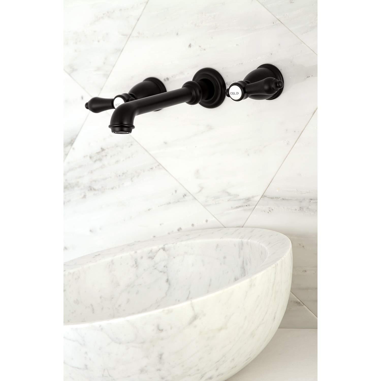 Kingston Brass KS7120BAL Heirloom 8-Inch Center Wall Mount Bathroom Faucet Matte Black