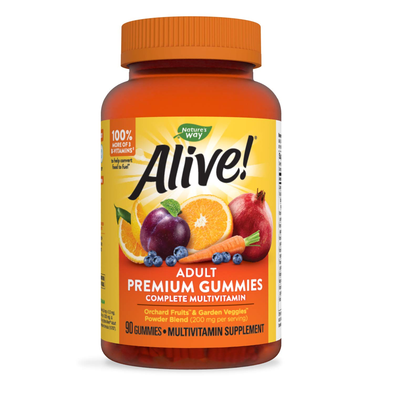 Nature's Way Alive! Adult Premium Gummy Multivitamin, Full B Vitamin Complex, 90 Gummies