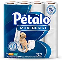 Pétalo Maxi Resist Papel Higiénico, 32 rollos de 247 hojas dobles, con Vitamina E y Coco