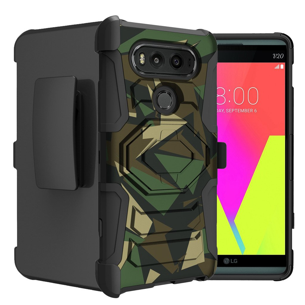 Untouchble Case for LG V20 Hard Case| V20 Case [Rugged Holster Armor] Clip Case Combo with Built in [Kickstand] and Silicone Corners - Green Camo