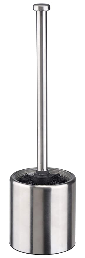 Bambelaa!. WC Cepillo para Inodoro – Escobilla de baño Soporte Acero Inoxidable Cristal Plata Negro