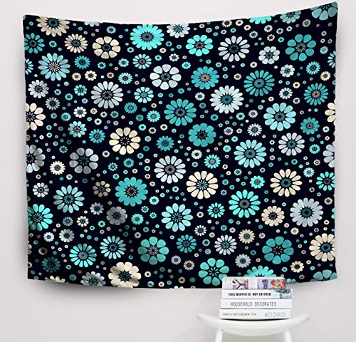 (Crannel Christmas Aqua Sky Blue Ivory spot Flower Pattern Dark Navy Mid Century mod Abstract Floral Geometric Tapestry 50x60 Inches Wall Art Tapestries Hanging for Dorm Room Living Home Decorative)
