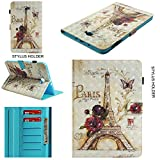 Galaxy Tab A 10.1 Inch Case, 3D Painting Eiffel Tower Floral Pattern Smart Leather Book Cover with Sleep/Wake Feature for Samsung Galaxy Tab A 10.1 Inch (SM-T580/SM-T585)
