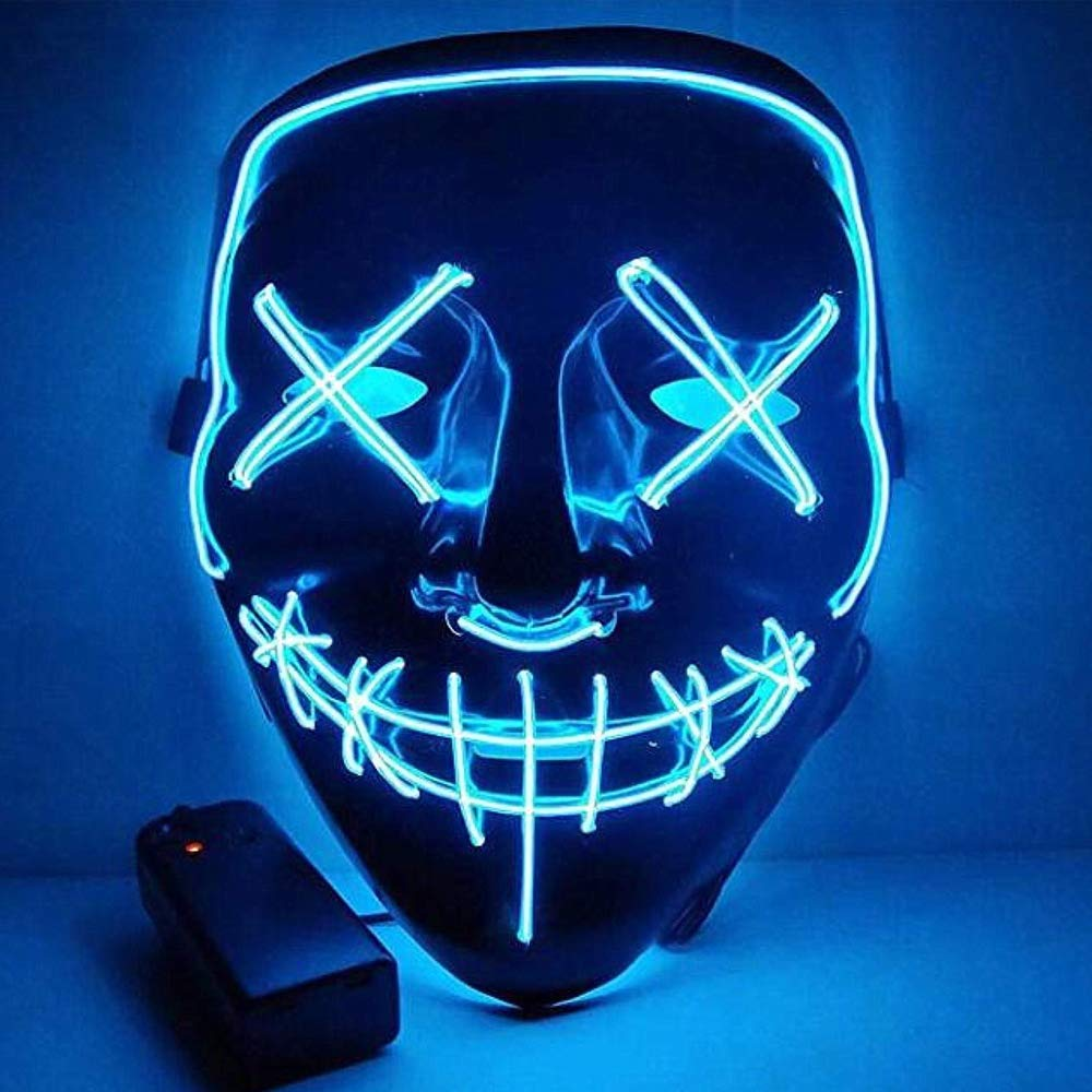 Flywind Halloween Led Mask El Wire Light Up Mask for Halloween Festival Party Blue by Flywind