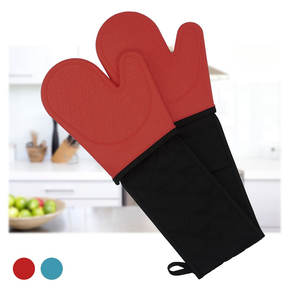 Double Oven Gloves, Silicone Waterproof Oven Gloves, Large Heat Resistant Double Oven Mitts for BBQ, Kitchen, Cooking, Microwave, Pizza 1 Pair, Blue D.E. E-Commerce Ltd.